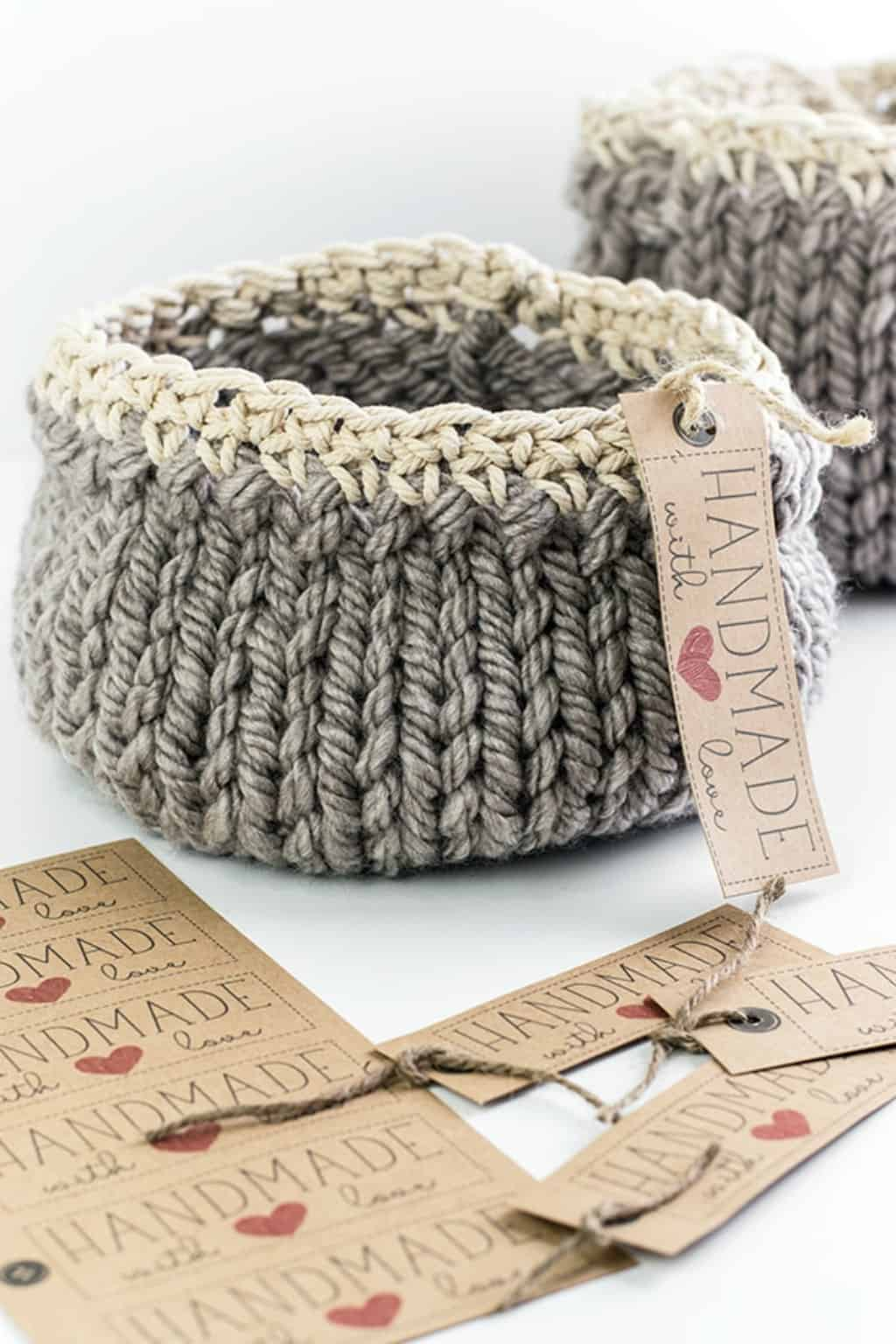 close up of gray handmade mother's day DIY baskets