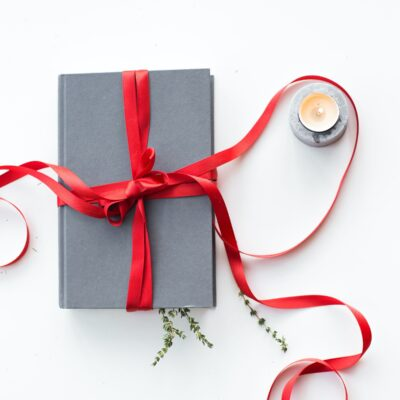 A blue book tied with a red Christmas ribbon
