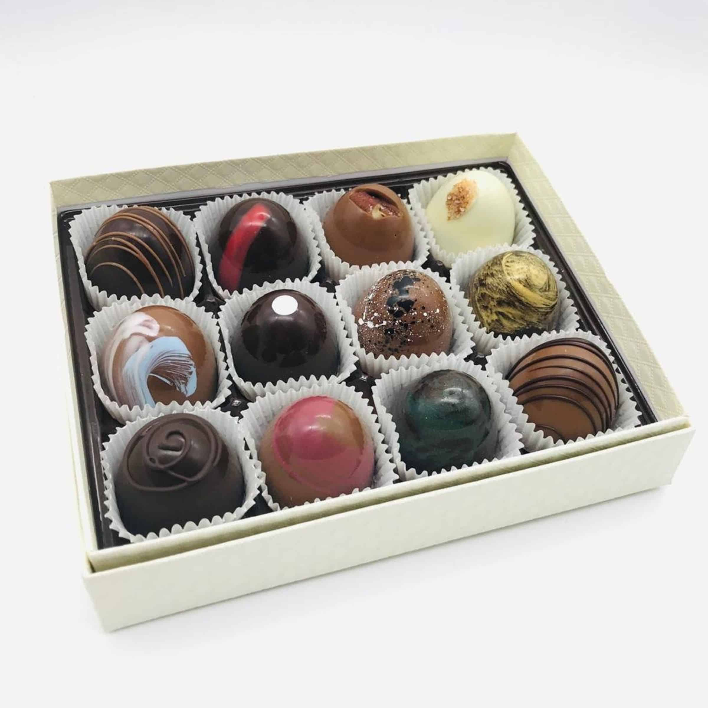 A box of artisan chocolates.