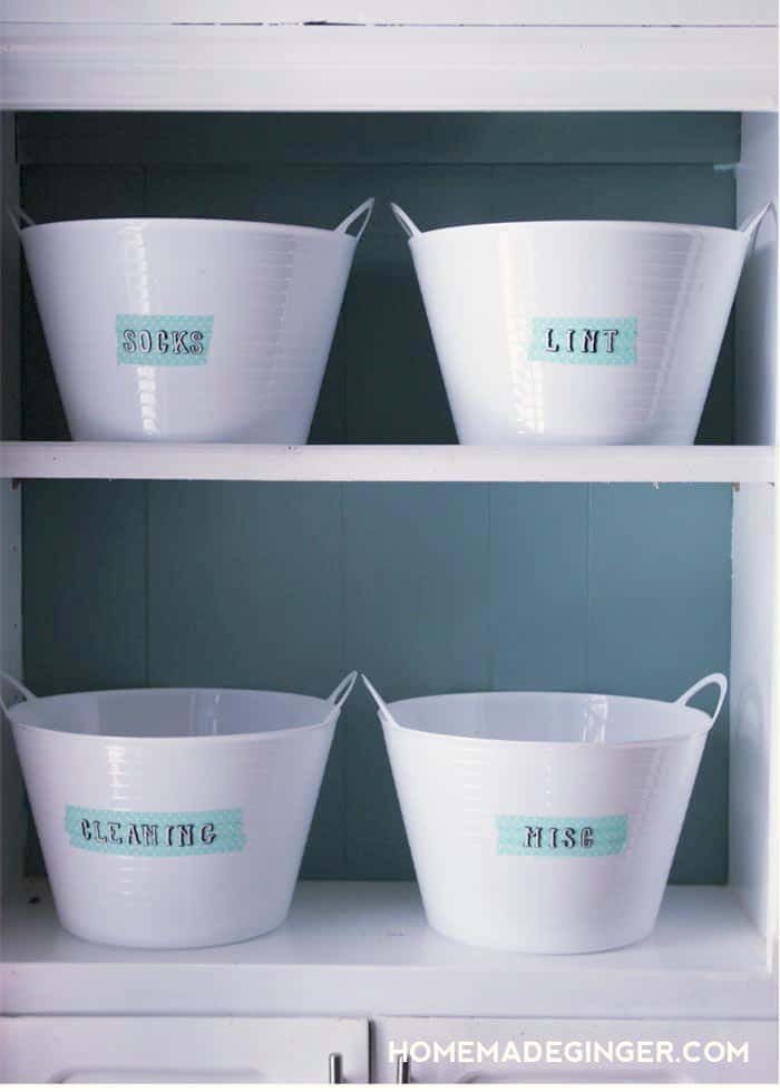 Laundry Room Storage made from Dollar Store Tubs