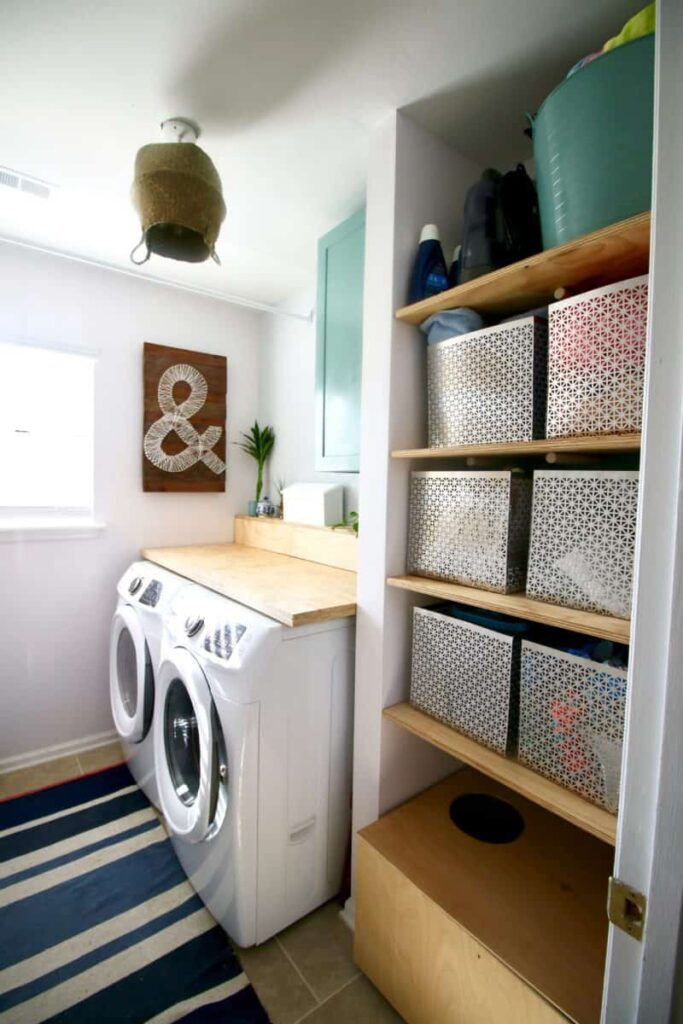 Laundry room with a blue rug