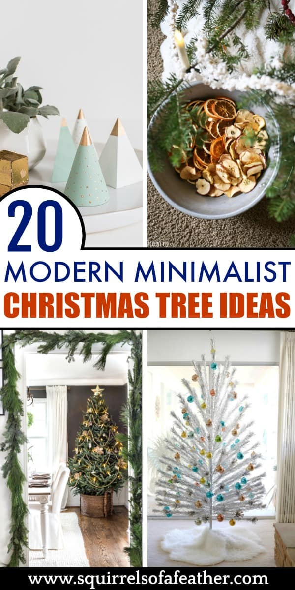 4 Minimalist Christmas trees in different colors
