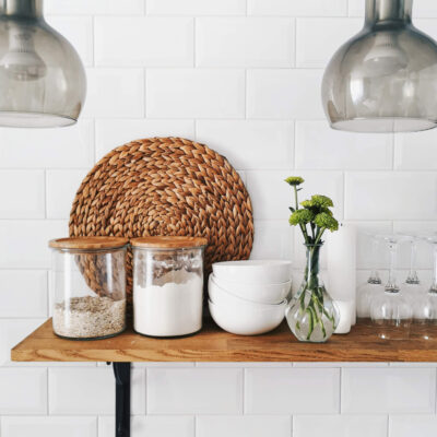 An aesthetic minimalist kitchen with bamboo containers
