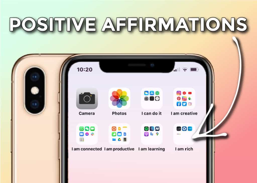 Close up of apps organized as positive affirmations with Law of Attraction